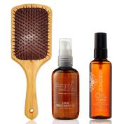 Gifts Of Morocco Luxury Argan Oil Set - Argan Oil 100ml | Argan Body Oil 100ml | Argan Infused Paddle Brush