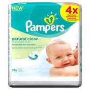 Pampers Natural Clean Unscented Baby Wipes 4 x 64 per pack