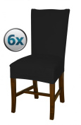 Bellboni - chair covers, fitted covers, fitted chair covers, bi-elastic, stretch, 6 Pack, black