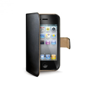 CELLY CUSTODIA AGENDA PELLE NERA C/PORTA CC IPHONE 4