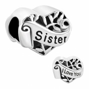 Sister I Love You Heart Charm