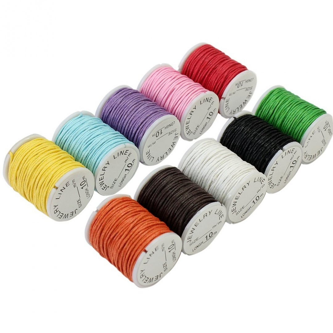 10x Mixed Colours Waxed Cotton Cord Strings For Macrame Jewellery Beads DIY  Making