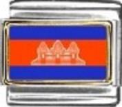 Cambodia Flag - enamel charm - 9mm Italian charm will fit Nomination classic bracelet