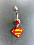 Red / Yellow Superman Logo Belly Navel Bar By Simply Jewelz