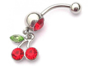 Red Cherry Navel Belly Bar By Simply Jewelz