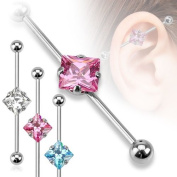1 PINK Industrial Scaffold Piercing Bar 1 Large square gem in centre 38mm Long barbell