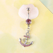 TR.OD Fashion Full Rhinestone Anchor Dangle Shape Pattern Navel Belly Barbell Ring Body Piercing Pierced Jewellery Pink