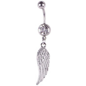 TR.OD Feather Wing Design Rhinestone Navel Belly Button Barbell Ring Body Piercing Jewellery