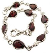 Garnet sterling silver bracelet - Length 19cm - 20.5cm