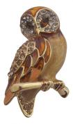 Pick A Gem Crystal and Enamel Owl Brooch / Barn Owl Brooch / Mothers Day Gift