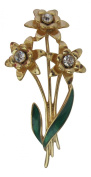 Pick A Gem Gold Plated with Enamel Triple Daffodil Brooch St. David's Day