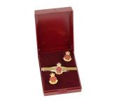 queens lancashire regiment 2003/ 2007 cufflink and tie bar gift set.