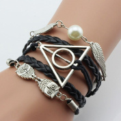 AIRWHEEL Harry Potter Braided rope platted Leather bracelet, Snitch Angel Wings Owl Deathly Hallows Charm Bracelet