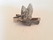 B34 Woodpigeon English Pewter emblem on a Tie Clip 4cm Handmade in sheffield comes with PrideInDetails gift box