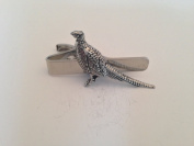 B16 Standing Pheasant English Pewter emblem on a Tie Clip 4cm Handmade in sheffield comes with PrideInDetails gift box