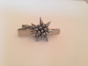 C21 Small Edelweiss English Pewter emblem on a Tie Clip 4cm Handmade in sheffield comes with PrideInDetails gift box