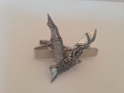 C19 Long-Eared Bat English Pewter emblem on a Tie Clip 4cm Handmade in sheffield comes with PrideInDetails gift box