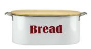 White Bread Bin with Wooden Lid