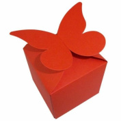 40 x Xmas Red Large Butterfly Top Wedding Favour Boxes, Size