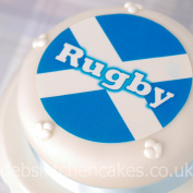 Scotland Rugby Cake Toppers - Scottish Flag Rugby Cake Decoration - 19cm Round - Edible Icing or Wafer