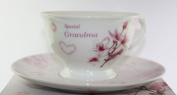 Vintage Lane Collection, Rose Fine Bone China Afternoon Tea Set 'Grandma With Love', From The Vintage Lane Collection By Jennifer Rose, Cup and Saucer Set, Cup 10x7cm, Saucer 16cm, Gift Boxed, Microwave and Dishwasher Safe