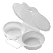 Microwave 2 Egg Poacher and Cooker in White - Premier Housewares - Plastic Microwaveable Egg Poacher