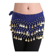 BuyHere Lady's Fashion Chiffon Belly Dance Waist Chain with Golden Coins