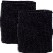 Pair of Terry Cloth Plain Black Wrist Sports Sweatbands Table Tennis Badminton Squash Exercise Gym Wristbands