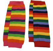 Baby Kids Boys Girls Pink Red Rainbow Leg Warmers - TWIN PACK