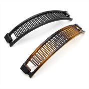 2 pc 13 cm Black / Tortoise Shell Colour Hair Banana Clip Set