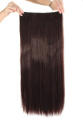 MapofBeauty 60cm Long Straight Clip in Hair Extensions Hairpieces
