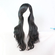 Womens/Ladies 70cm Black Colour Long CURLY Cosplay/Costume/Anime/Party/Bangs Full Sexy Wig