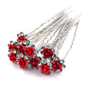 Bride Boutique Bridal Wedding Prom Silver Crystal Diamante Rose Flower Hair Pins Clips Grips