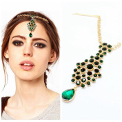 Yazilind Peacock Green Round Oval Crystal Drop Golden Chain Headwear Hair Accessories Headpiece