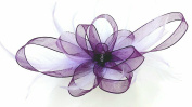 Purple Ribbon & Lilac Feathers Hair Fascinator on Comb