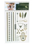 Metallic Gold and Silver Tattoo Transfers - HAMSA EYE and other Patterns