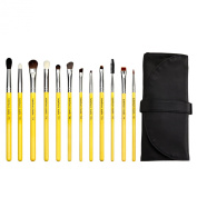 Bdellium Tools Professional Antibacterial Makeup Studio Line Eyes Brush Set with Roll Up Pouch Pack of 12