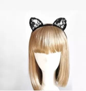 Goliton® Fashion women party sexy lace cat ears headband hair bands for Christmas,Halloween,Costume Party etc. - Black