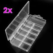 2 False Nail Art 100 Tips Compartments Storage Box Case