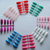 160 Long Oval Multi Coloured Full Cover False Nails from Pink-Candy - 8 Cols 2 Fishbones of each
