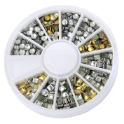 Gold & Silver Nail Art 3D Metallic Round Square Rhinestones Gem Decoration+Wheel