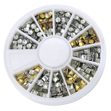 Gold & Silver Nail Art 3D Metallic Round Square Rhinestones Gem Decoration+Wheel