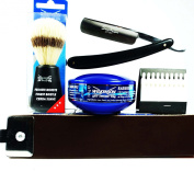 STRAIGHT CUTTHROAT RAZOR & STROP SHAVING SET.