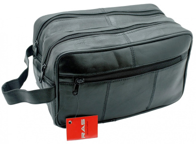 MEN'S GENUINE LEATHER TRAVEL OVERNIGHT WASH GYM TOILETRY BAG (BLACK) - 3520
