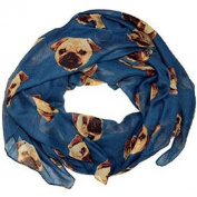 Choose Brand new Colour ~ Gorgeous Pug Dog Print Ladies Soft Scarf Wrap Pugs Scarves