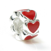 Queenberry Sterling Silver Enamel Endless Love Red Heart Bead Charm for Pandora Troll Chamilia Biagi European Jewellery