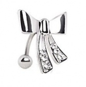 Piercing Boutique Surgical Steel Reverse Gem Bow / Knot Belly Bar with Coloured Gems 1.6mm (14 gauge) x 10mm Length - One Piece - Clear