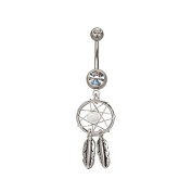JewelTime Dreamcatcher & Feathers Dangle Belly Bar - White - Navel Rings Dream catcher