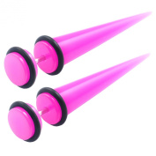 Jewellery 2pcs of Top Quality Fake Acrylic Pink Taper Stretcher Plugs Cheater 8mm Earrings O-rings LAFN