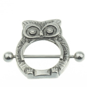 1 Pair 316L Surgical Steel 14G Owl Nipple Shield Bar Ring Body Jewellery Nipple Piercing